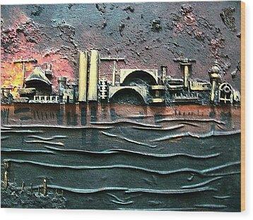 Industrial Port-part 2 By Rafi Talby Wood Print by Rafi Talby