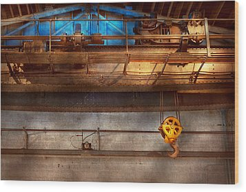 Industrial - The Gantry Crane Wood Print by Mike Savad