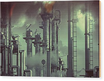 Industry Oil Refinery Concept Wood Print