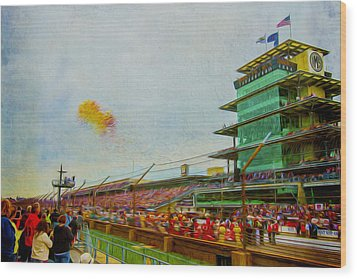 Indy 500 May 2013 Race Day Start Balloons Wood Print by David Haskett