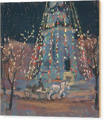 Indy Monument Lights Wood Print by Donna Shortt