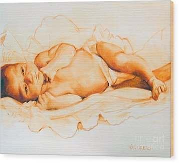 Wood Print featuring the painting Infant Awake by Greta Corens
