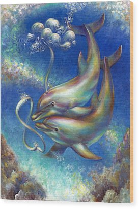 Infinity- Bottlenose Dolphins At Play Wood Print