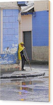 Information Man In Penipe Ecuador Wood Print by Al Bourassa