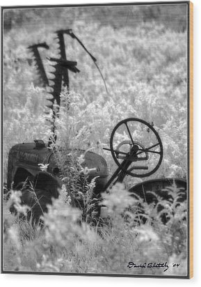 Infrared Bw Old Farm Tractor 8  Wood Print by David Blatchley