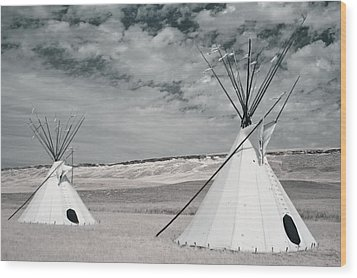 Infrared Image Of Native American Tipis Wood Print by Roberta Murray