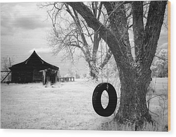 Infrared View Of Rural Alabama Wood Print by Carol M Highsmith
