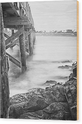 Wood Print featuring the photograph Infrared View Of Stormy Waves At Stramsky Wharf by Jeff Folger