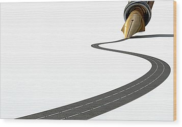 Infrastructure Pen And Road Wood Print by Allan Swart