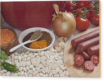 Ingredients For Spanish Chorizo Soup Wood Print by Colin and Linda McKie