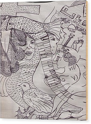 Ink Art To Color 3 Wood Print by Lois Picasso