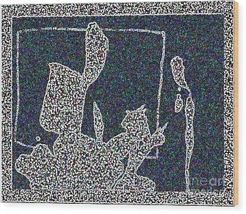Ink Blot 2 Wood Print by Helen Babis