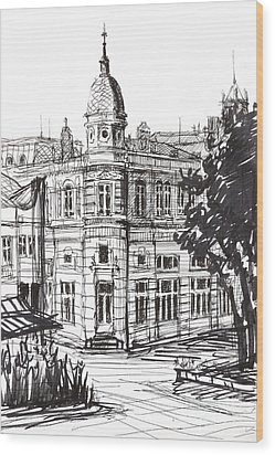 Ink Graphics Of An Old Building In Bulgaria Wood Print by Kiril Stanchev