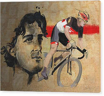 Ink Portrait Illustration Print Of Cycling Athlete Fabian Cancellara Wood Print by Sassan Filsoof