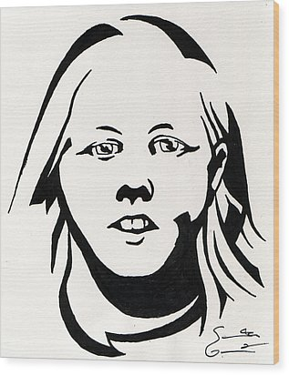 Ink Portrait Wood Print