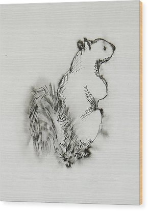 Ink Squirrel Wood Print