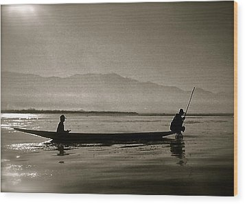 Inle Fishermen Wood Print by Kim Pippinger
