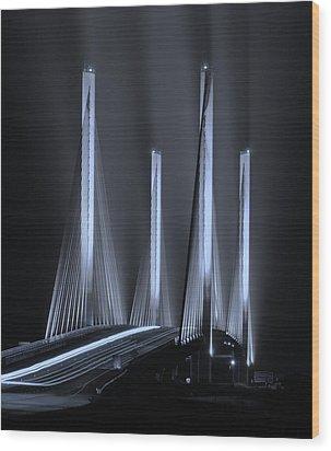 Inlet Bridge Light Trails In Cyan Wood Print by William Bartholomew