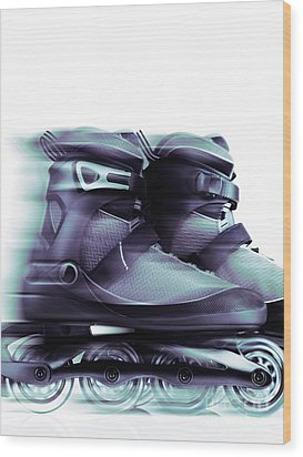 Inline Skates Rollerblades Artistic Dynamic Still Ife Wood Print by Oleksiy Maksymenko