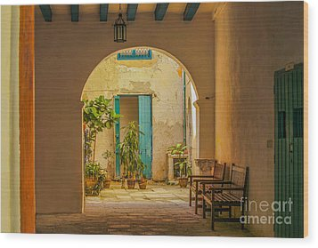 Inner Courtyard In Caribbean House Wood Print by Patricia Hofmeester