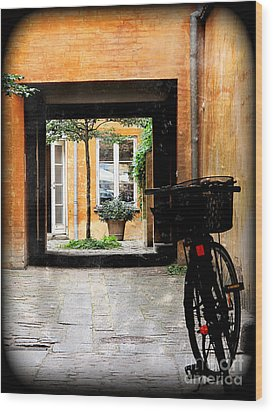 Inner Courtyard Wood Print by Joan McCool