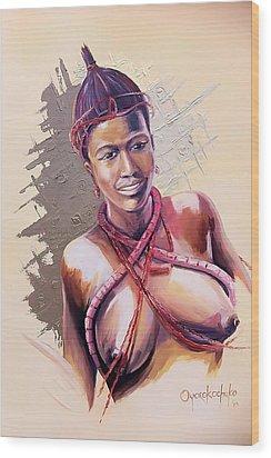 Wood Print featuring the painting Innocence  by Oyoroko Ken ochuko