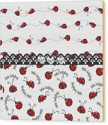 Innocent Ladybugs  Wood Print by Debra  Miller