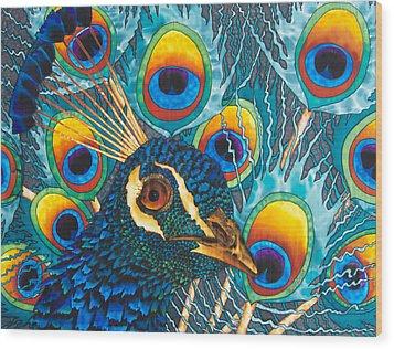 Insane Peacock Wood Print by Daniel Jean-Baptiste