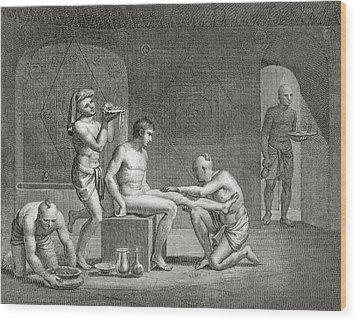 Inside An Egyptian Bathhouse, C.1820s Wood Print by Dominique Vivant Denon