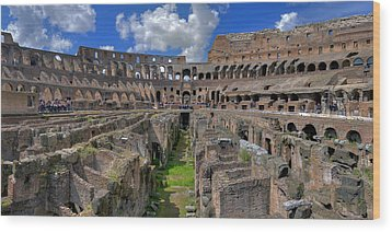 Inside Colosseum Wood Print by Patrick Jacquet