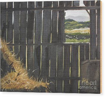 Barn -inside Looking Out - Summer Wood Print by Jan Dappen