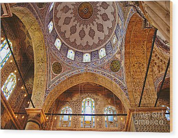 Inside The Blue Mosque Wood Print by MaryJane Armstrong