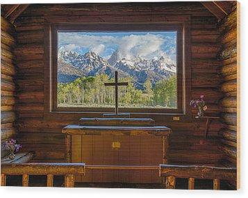 Inside The Chapel Wood Print