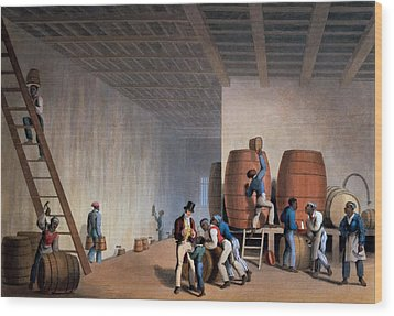 Inside The Distillery, From Ten Views Wood Print by William Clark