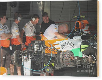 Inside The Force India Garage Wood Print by David Grant