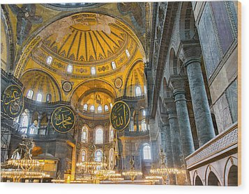 Inside The Hagia Sophia Istanbul Wood Print by For Ninety One Days