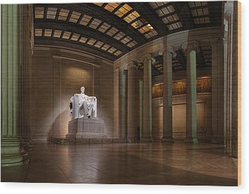 Inside The Lincoln Memorial Wood Print by Metro DC Photography