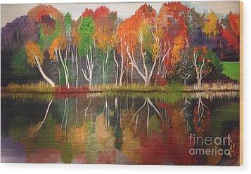 Inspiration Autumn Evening In Work Wood Print
