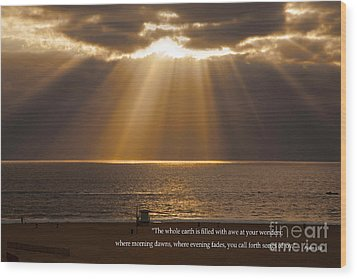 Inspirational Sun Rays Over Calm Ocean Clouds Bible Verse Photograph Wood Print
