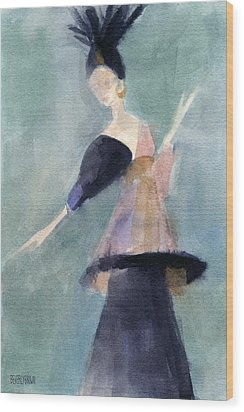 Inspired By Paul Poiret Fashion Illustration Art Print Wood Print by Beverly Brown Prints
