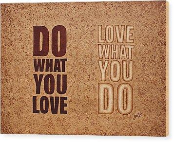 Inspiring Quote Original Coffee Painting Wood Print by Georgeta Blanaru