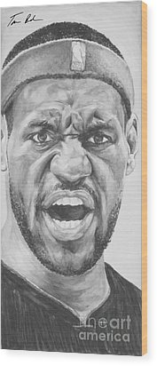 Intensity Lebron James Wood Print