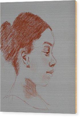Intent Conte Sketch Wood Print by Carol Berning
