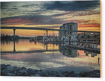 Intercoastal Waterway And The Wharf Wood Print by Michael Thomas