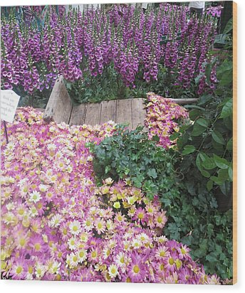 Wood Print featuring the photograph Interior Decorations Butterfly Gardens Vegas Golden Yellow Purple Flowers by Navin Joshi