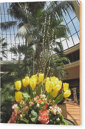 Wood Print featuring the photograph Interior Decorations Butterfly Gardens Vegas Golden Yellow Tulip Flowers by Navin Joshi