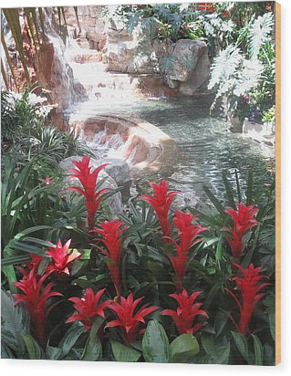 Interior Decorations Water Fall Flowers Lights Shades Wood Print by Navin Joshi