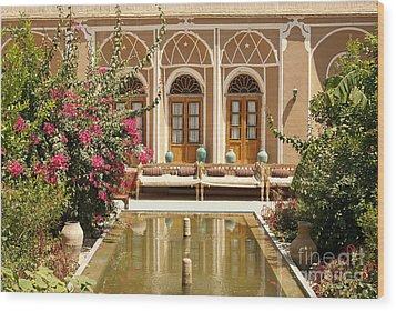 Interior Garden With Pond In Yazd Iran Wood Print
