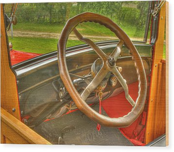 Interior Of A 1926 Model T Ford Wood Print by Thomas Young