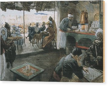 Interior Of A Coffee In A City Wood Print by Everett